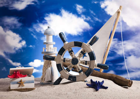 Sail boat on beach Background Stock Photo - 14218610