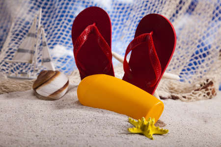flip flops:  Flip flops and  sand  Stock Photo
