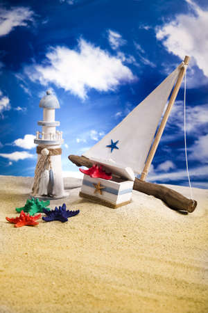 Sailboat on sand, holiday, summer, beach Background  photo