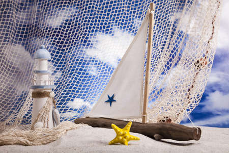 Summer Beach, Sailboat, Lighthouse concept photo