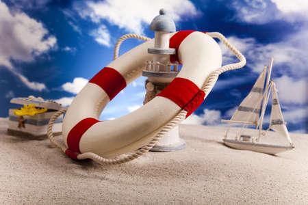 beach buoy:  Life buoy on the beach
