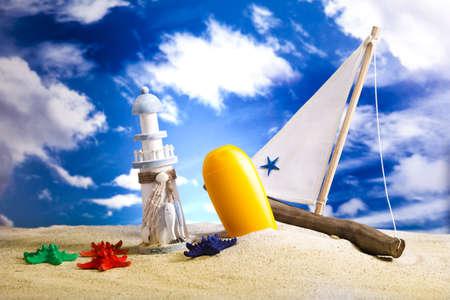Summer holiday, suntan on beach  photo
