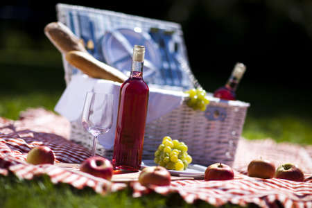 Wine and picnic basket on the grass Stock Photo - 15243555