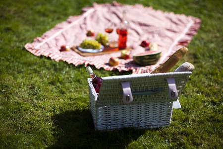 Picnic basket with fruit bread and wine photo