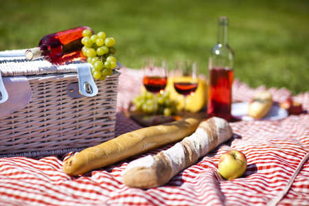 Wine and picnic basket on the grass Stock Photo - 15244003