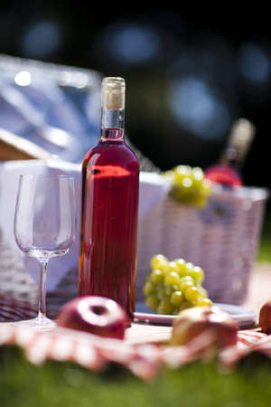 Wine and picnic basket on the grass  photo