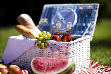 Picnic basket with fruit bread and wine Stock Photo - 15243620