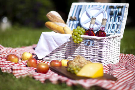 Picnic basket with fruit bread and wine Stock Photo - 15243657