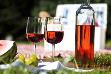 Wine and picnic basket on the grass  Stock Photo - 15243558