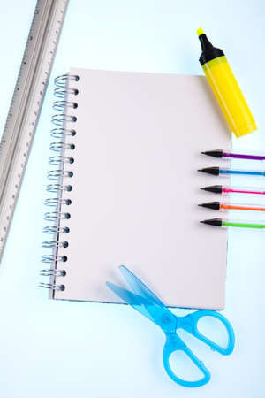 Back to school, Notepad with supplies Stock Photo - 15243437
