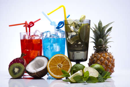Alcohol drinks set with fruits Stock Photo - 15244433