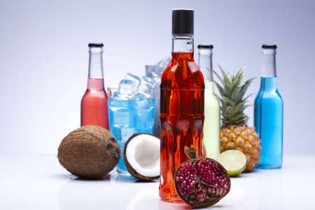 Cocktails, alcohol drinks with fruits photo
