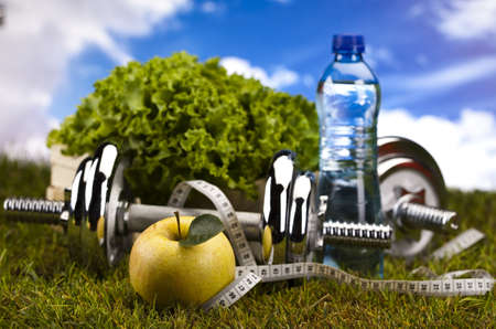 Fitness Food and green grass photo