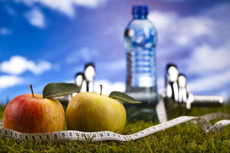Fitness diet, vitamins and green grass Stock Photo - 15140844