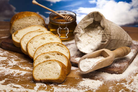 Flour and traditional bread photo