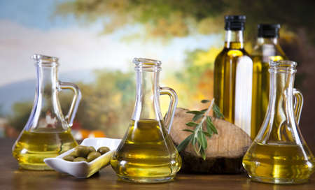 olive green: Olive oil and olives  Stock Photo