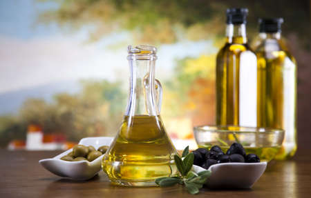 sun oil: Olive oil and olives  Stock Photo