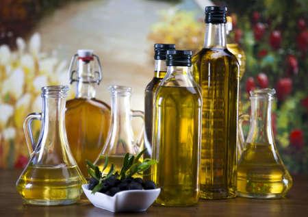 Olive oil and olives  Banque d'images