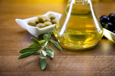 olive oil bottle: Olive oil and olives  Stock Photo