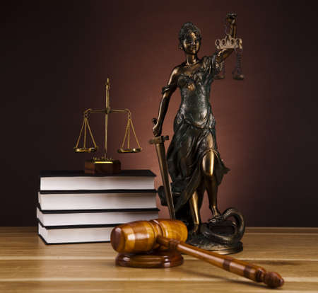 justice scales: Antique statue of justice, law