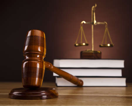 Law theme, mallet of judge, wooden gavel Stock Photo - 16167729