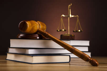 tribunal: Law theme, mallet of judge, wooden gavel
