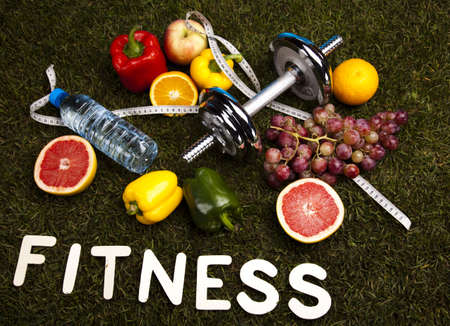 Diet and fitness, dumbell in vitamins  photo
