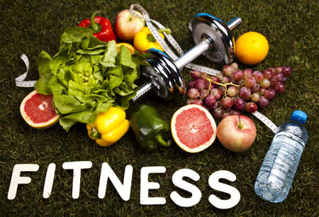 Fitness diet, vitamins and green grass photo