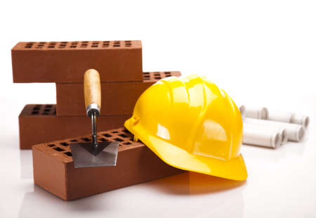 Construction plans and blueprints, bricks Stock Photo - 16408842