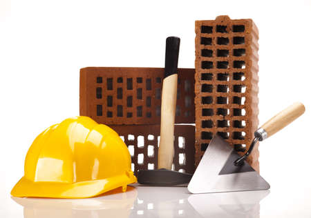 Building background, trowel and bricks Stock Photo - 16408848