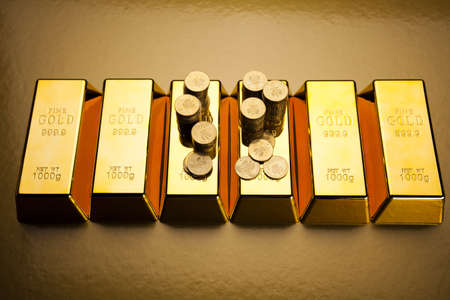 numismatist: Coins and gold bars, Finance Concept