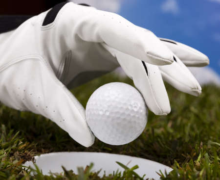 Hand and golf ball Stock Photo - 17486605