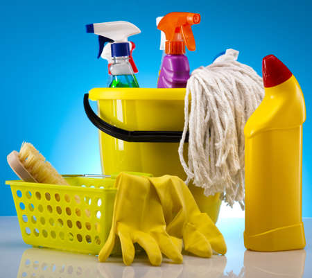 house chores: Group of assorted cleaning  Stock Photo