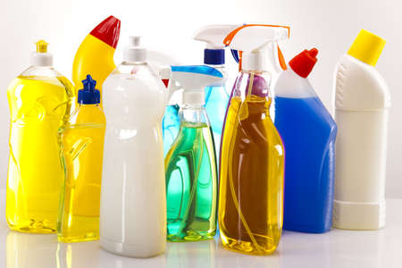 scouring: Group of assorted cleaning  Stock Photo