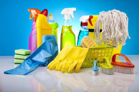 house chores: Set of cleaning products  Stock Photo