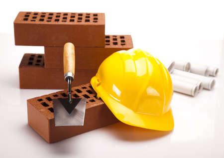 architecture plans: Brick, trowel tool and Construction plans