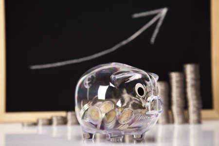 Piggy Bank on a coins diagram Stock Photo - 17875525