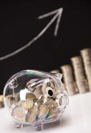 Piggy Bank on a coins diagram photo