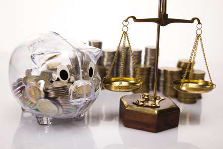 Business concept, Pig bank and money coin Stock Photo