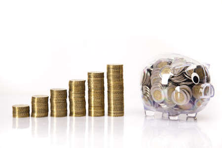 Business concept, Pig bank and money coin Stock Photo - 17875458