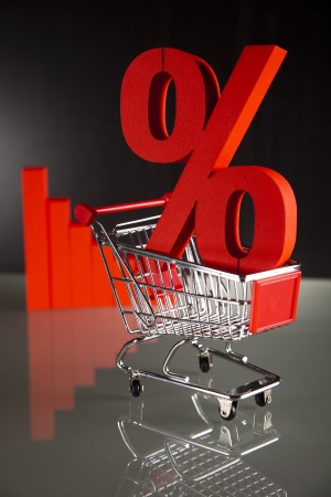 Shopping supermarket cart, percent sign Stock Photo - 18746464