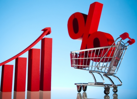 Shopping supermarket cart, percent sign Stock Photo - 18745980