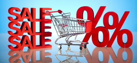 Concept discount, Shopping cart with sale photo