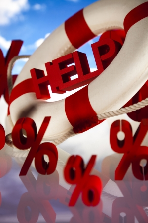 Life buoy with percent, Help in finance Stock Photo - 18745753