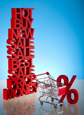 Shopping trolley, discount  Stock Photo