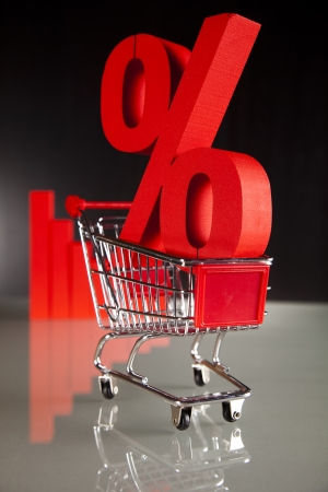 Shopping supermarket cart, percent sign photo