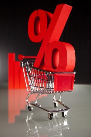 Shopping supermarket cart, percent sign Stock Photo - 18746564