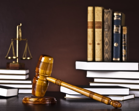 Judges wooden gavel and law books  Stock Photo