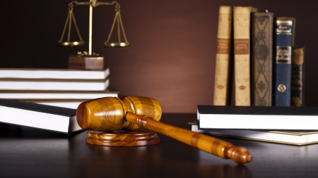 Judges gavel and law books  Stock Photo