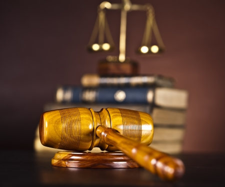 Legal gavel on a law book  photo